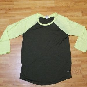 Pink Baseball Tee sz M lime green & olive
